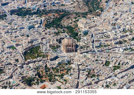 Famous Mosta Dome, Rotunda Of Mosta, The Basilica Of The Assumption Of Our Lady Mary Aerial View. Ro
