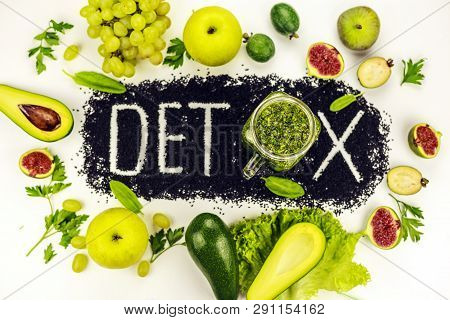 Concept Of Diet, Word Detox Is Made From Black Cumin Seeds. Green Smoothies And Ingredients. Aavakad