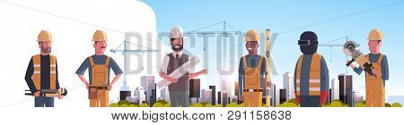 Construction Workers Team Industrial Technicians Builders Group Over City Construction Site Tower Cr
