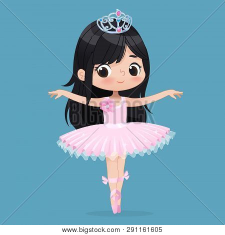 Cute Child Girl Ballerina Dancing Isolated. Caucasian Ballet Dancer Princess Character Jump Motion.