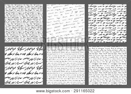 Handwriting Backgrounds Set Sursive Seamless Patterns Collection