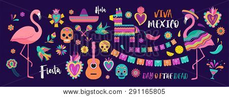 Mexican Symbols, Icons And Illustrations. Vector Collection Of Colorful Design For Cinco De Mayo, Fi