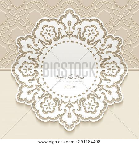 Vintage Lace Doily, Round Frame With Cutout Paper Border, Ornamental Decoration For Wedding Invitati
