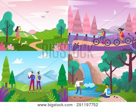 Tourism On Nature. Mountaineering Travelers, Travel Explore Landscape And Traveling Sport Rest Flat