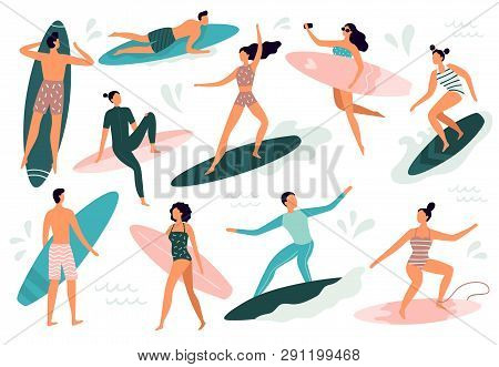 Surfing People. Surfer Standing On Surf Board, Surfers On Beach And Summer Wave Riders Surfboards Ve
