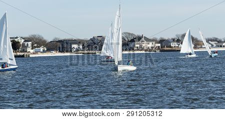 Small Two Person Sailboats  Sailing Around The Great South Bay Between West Islip And Babylon, New Y