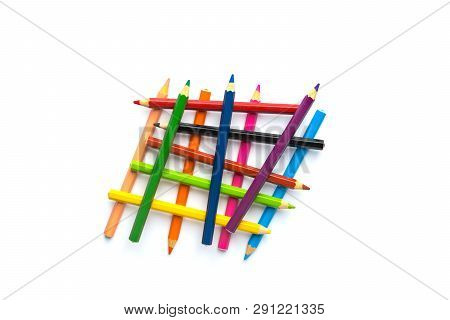 Abstract Overlapping Construction From Multicolored Pencils On White Background. Business Ideas Conc