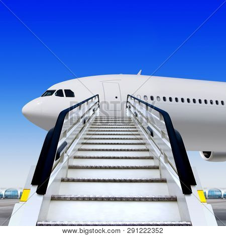 3d illustration of white ramp in airport near the plane