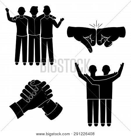 Brotherhood Icon Set. Simple Set Of Brotherhood Icons For Web Design On White Background