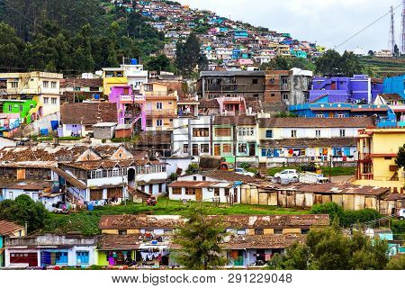 Ooty, India - August 25, 2018: View Ot He Colorful Houses Of Ooty, A Town In The Nilgir Mountains. I