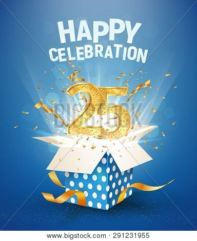 25 Th Years Anniversary And Open Gift Box With Explosions Confetti. Isolated Design Element. Templat