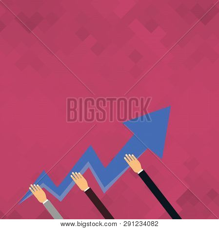 b62cfb5e5a78d Three Hands Holding Colorful Zigzag Lightning Arrow Pointing And Going  Upward. Creative Background I