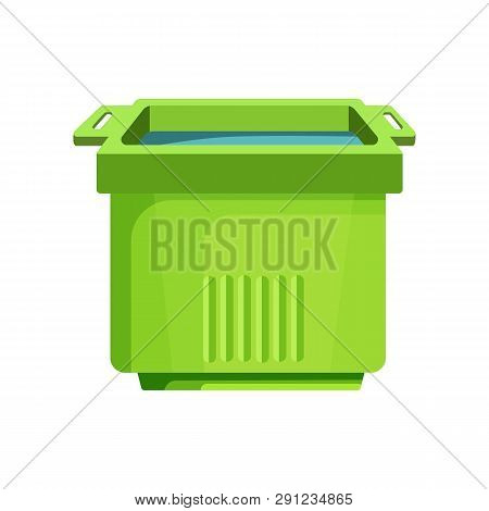Green Square Bucket Illustration. Basket, Home, Cleaning. Houseware Concept. Vector Illustration Can