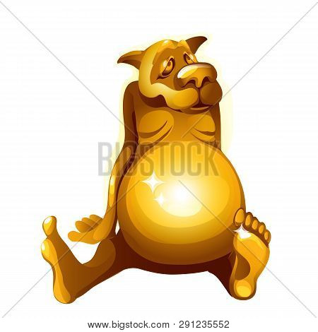 Golden Figurine Of A Dog Gorged Itself Isolated On White Background. Vector Cartoon Close-up Illustr