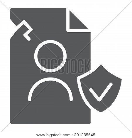 Breach Personall Data Glyph Icon, Private And Protect, Privacy Breach Sign, Vector Graphics, A Solid