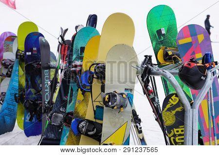 Lake Tahoe, Nevada - February 2, 2019. Peak Ski/snowboarding Season Begins At Mountain Ski Resorts.