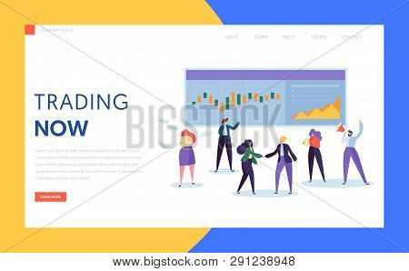 Trader Buying and Selling Stock, Bond or Commodity or Derivative and Mutual Fund Landing Page. Professional Working in a Financial Corporation Website or Web Page. Flat Cartoon Vector Illustration poster