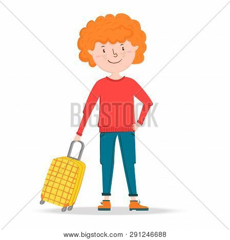 Little Boy Traveler Stands, Holding A Suitcase On Wheels. Ready To Travel Red Hair Teenager Young Ma