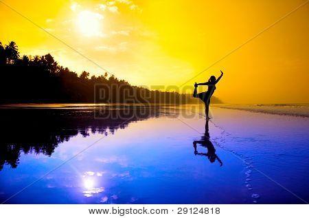 Yoga Natarajasana  On The Beach