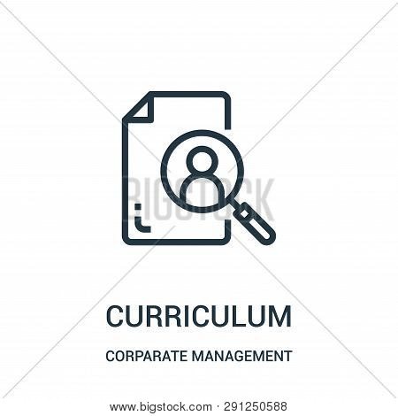 Curriculum Icon Vector From Corparate Management Collection. Thin Line Curriculum Outline Icon Vecto