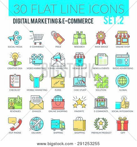 Set Of Modern Filled Outline Icons Of Marketing, Advertising, E-commerce, Digital Marketing, Seo. Pe