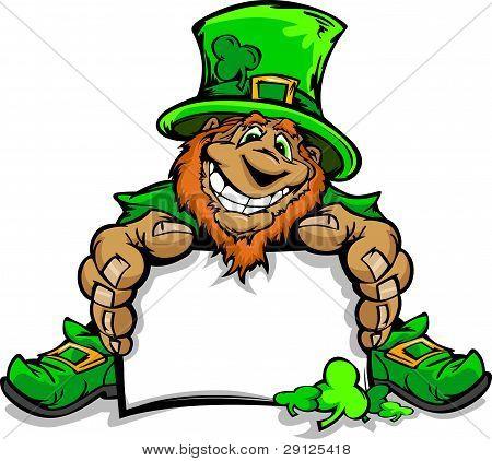 Smiling St. Patricks Day Leprechaun Holding Sign