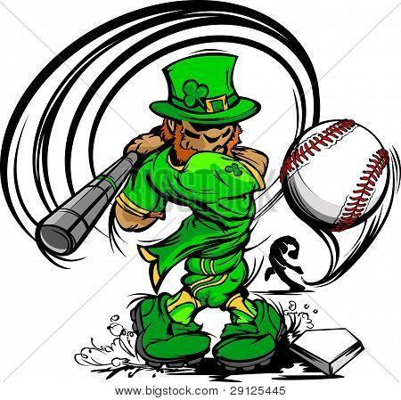 St. Patricks Day Leprechaun Swinging Baseball Bat