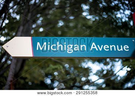 Michigan Ave street sign in downtown Chicago poster
