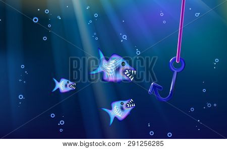 Fishing And Wild Predators Blue Background Small Flock Fish. Cartoon Marine Life From Banner Design,