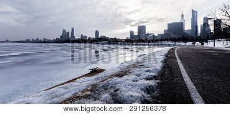 View Of Chicago Skyline Seen From S Lake Shore Drive On February 2nd 2019, After A Wave Of Cold Air