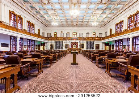 Austin, Texas - March 28, 2018 - House Of Representatives Chamber In Texas State Capitol In The Capi