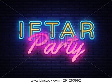 Iftar Party Invitation Card Neon Design Vector Illustration. Iftar Party Festive Design Template In
