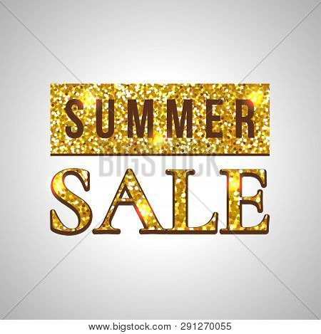 Summer Sale Glitter Text On Green Background Concept