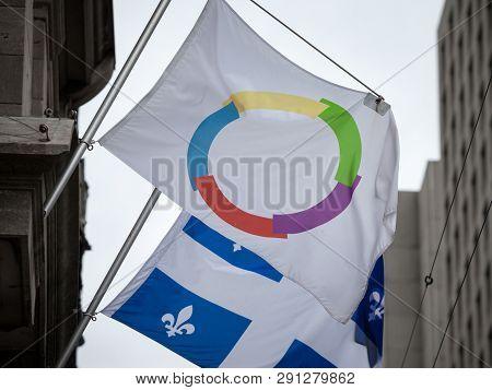 Montreal, Canada - November 8, 2018: Organisation Internationale De La Francophonie Flag Next To The