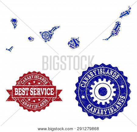 Best Service Composition Of Blue Mosaic Map Of Canary Islands And Unclean Seals. Mosaic Map Of Canar