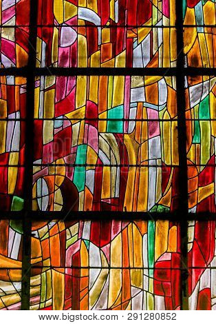 Paris, France - February 10, 2019: Abstract Stained Glass In The Church Of Saint Severin, Latin Quar