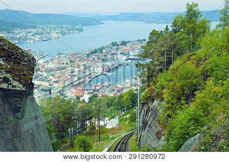 Beautiful Panorama Of Bergen Seen From The Funicular On Mount Floyen In Bergen, Norway