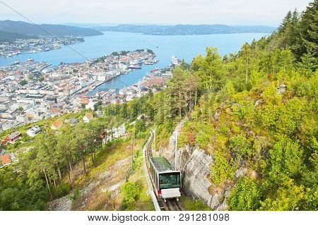 Beautiful Panorama Of Bergen With Funicular On Mount Floyen In Bergen, Norway