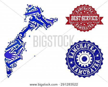 Best Service Collage Of Blue Mosaic Map Of Kamchatka Peninsula And Rubber Seals. Mosaic Map Of Kamch