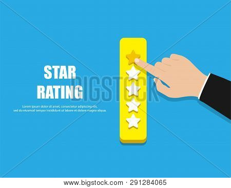 Star Rating. Hand Giving Five Star Rating. Vector Illustration