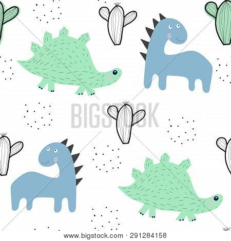 Seamless Pattern With Dinosaurs And Cactus. Vector Illustration In Scandinavian Style For Fabric , W