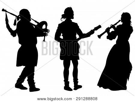 Musicians with old instruments on white background
