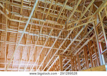 Interior Framing Beam Of New House Under Construction Home Framing Beam Construction