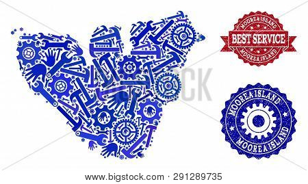 Best Service Composition Of Blue Mosaic Map Of Moorea Island And Rubber Stamps. Mosaic Map Of Moorea