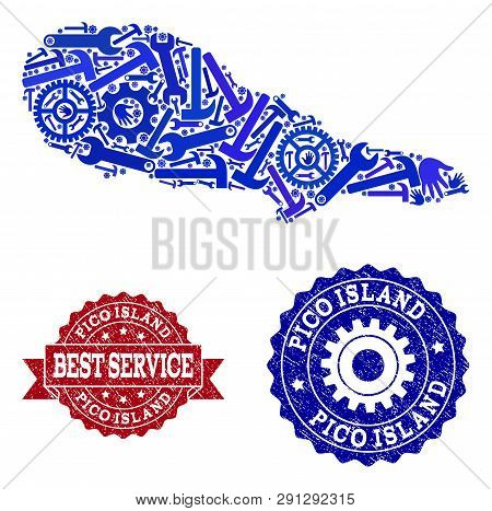 Best Service Collage Of Blue Mosaic Map Of Pico Island And Rubber Seal Stamps. Mosaic Map Of Pico Is