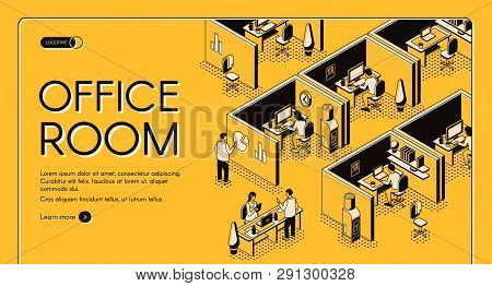 Modern Coworking Center With Individual Workplaces Isometric Projection Vector Web Banner. Company E
