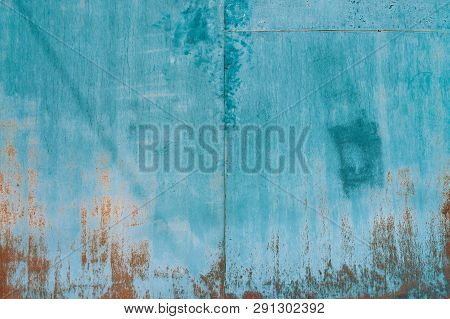 Rust On Metallic Surface. Iron Texture. Partly Rusty Background. Rough Oxide Plate Close-up. Hard De