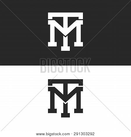 Monogram hipster initials TM logo letters set, overlapping two bold letters T M alliance, linear weaving mark MT for business card emblem poster