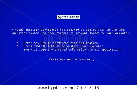 Blue Screen Of Death. Operating System Crash Error Message. Bsod Malfunction Report.