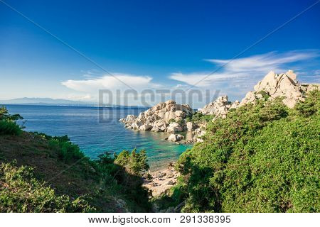 Cala Spinosa Beach. Capo Testa, Sardinia Island, Italy. Sardinia is the Second Largest Island in Mediterranean Sea.